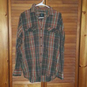 Bass Mens Plaid Button Up Shirt